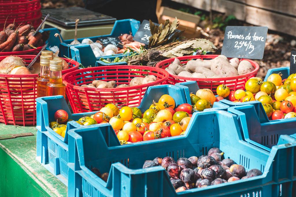 étals fruits et légumes bio marché de monplaisir