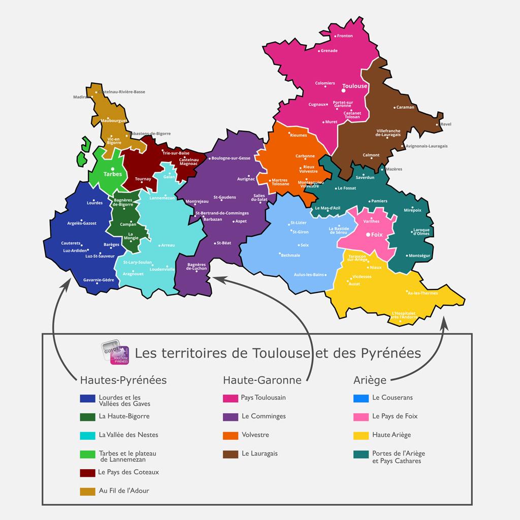 Carte Haute Pyrénées, Haute Garonne, Ariège